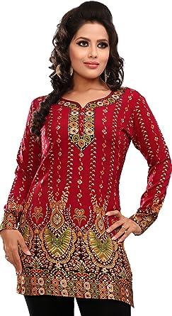 fa921e20cb7e Women's Indian Kurti Top Tunic Printed Blouse India Clothes (Maroon, ...