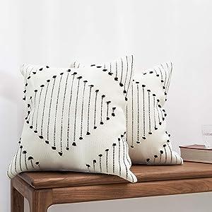 "blue page Boho Farmhouse Diamond Decorative Throw Pillow Covers - Set of 2 Boho Pillow Cases, Cotton Woven Square 18""x18"" for Sofa Bedroom Living Room, Modern Home Decor (Black Cream)"