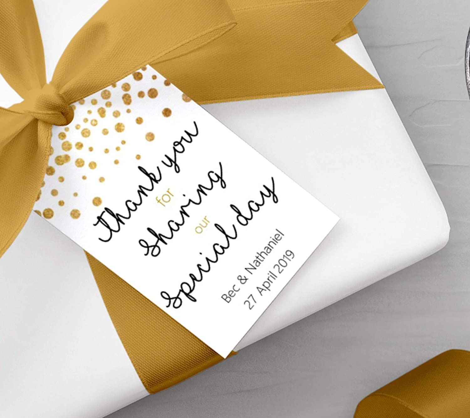 Thank you for sharing our special day 5cm x 9cm Gift Tags White Card Gold Personalised Party Hen Wedding Birthday
