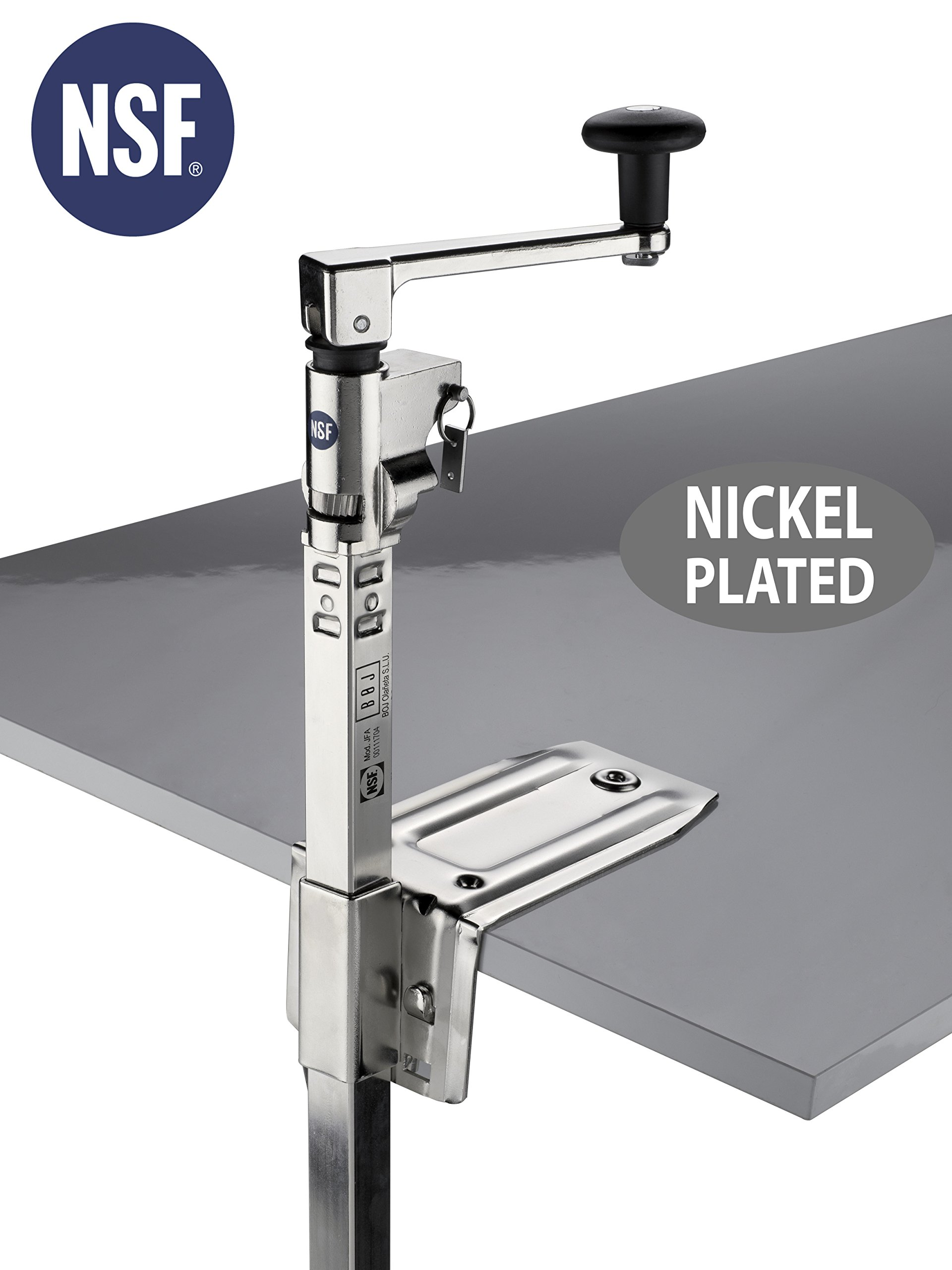BOJ Can Opener NSF Certified Commercial Grade Manual with Angled Bar (Nickel Plated) Medium Duty Table Mount for Kitchen Restaurant with 20'' Bar Length by BOJ