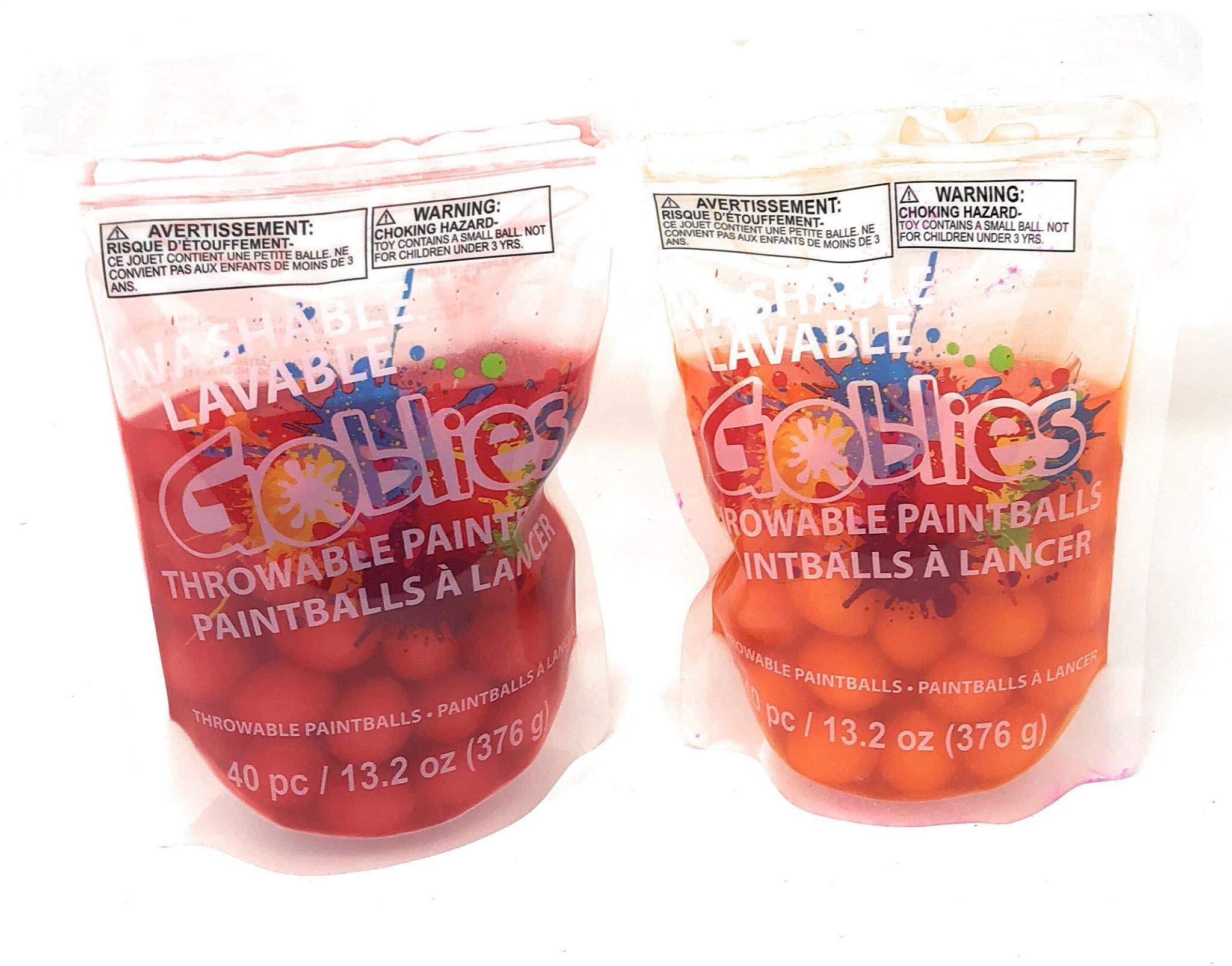 Goblies Throwable Red & Orange (2 Pack), 80 Paint Balls