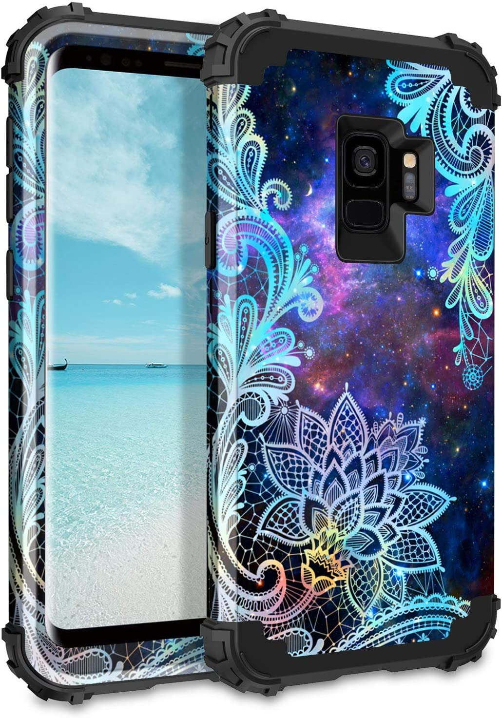 Casetego Compatible Galaxy S9 Case,Floral Three Layer Heavy Duty Hybrid Sturdy Shockproof Full Body Protective Cover Case for Samsung Galaxy S9,Mandala