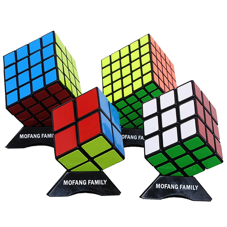 MOFANG FAMILY Black Cube Puzzle Bundle Pack 2x2x2 3x3x3 4x4x4 5x5x5 Set Shengshou Speed Cube Collection Brainteaser Puzzle