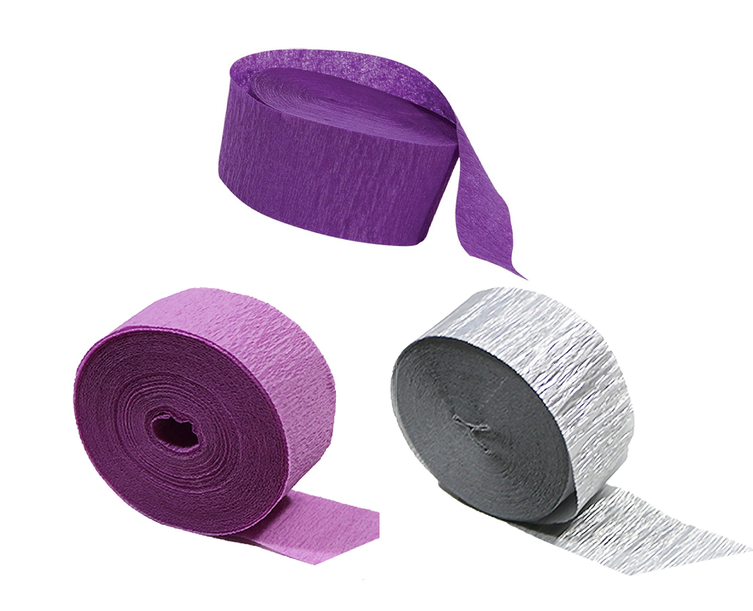 Silver Metallic Crepe Paper Color Combinations (Purple + Orchid + Silver), 435 FEET Total, Made in USA