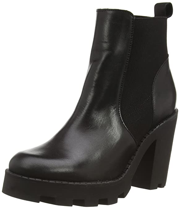 Psuzza Leather Boot Chelsea Black Noos, Womens Unlined Slip-on Boots Half Length Pieces