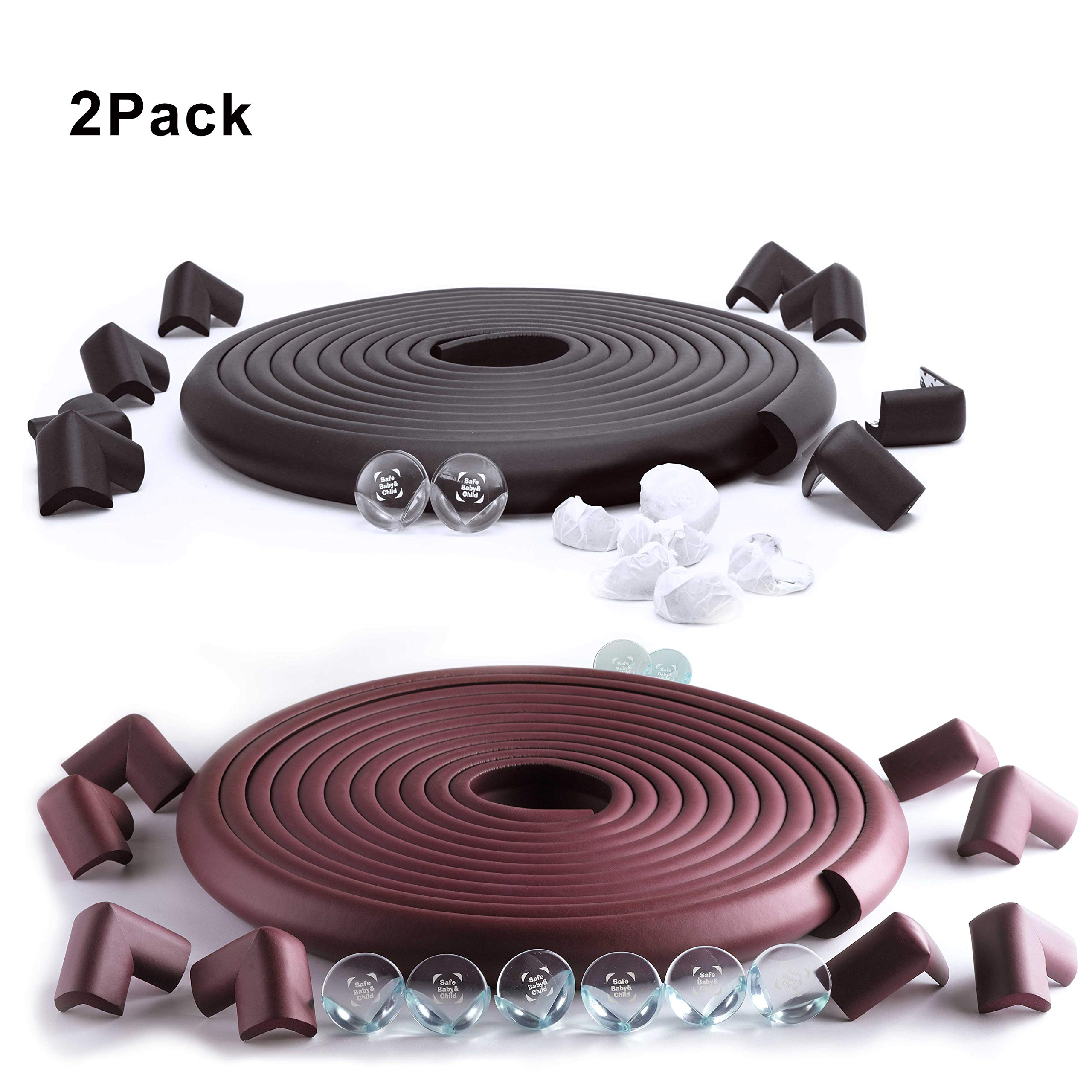SafeBaby & Child Proofing 23.2ft Set. 16 Corners Guards Baby proofing Edge. Clear Protective Bumpers for Furniture. Cushion Foam Strip Brick pad childproof Fireplace Guard for Toddlers Black Brown