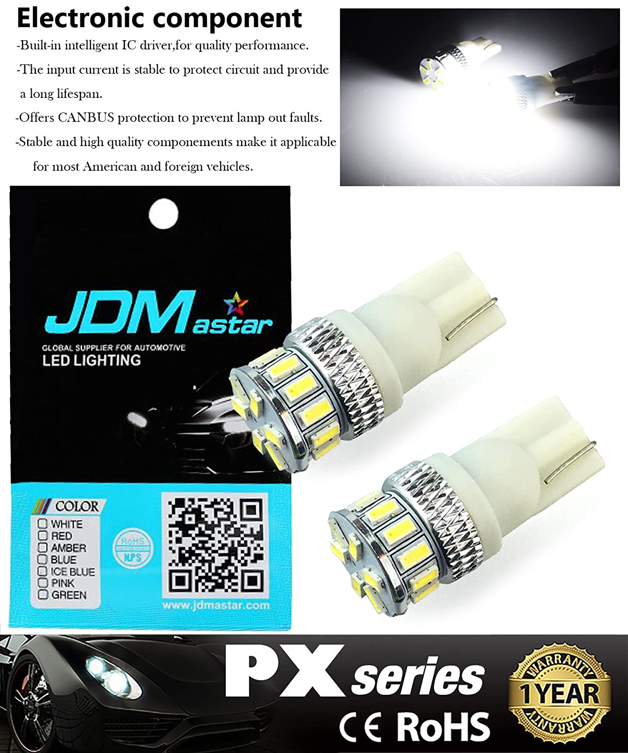 Jdm Astar Extremely Bright 3014 Chipsets 194 168 2825 20062007 Honda Ridgeline Electrical Troubleshooting Manual Original W5w T10 New Style Led Bulbsxenon White Automotive