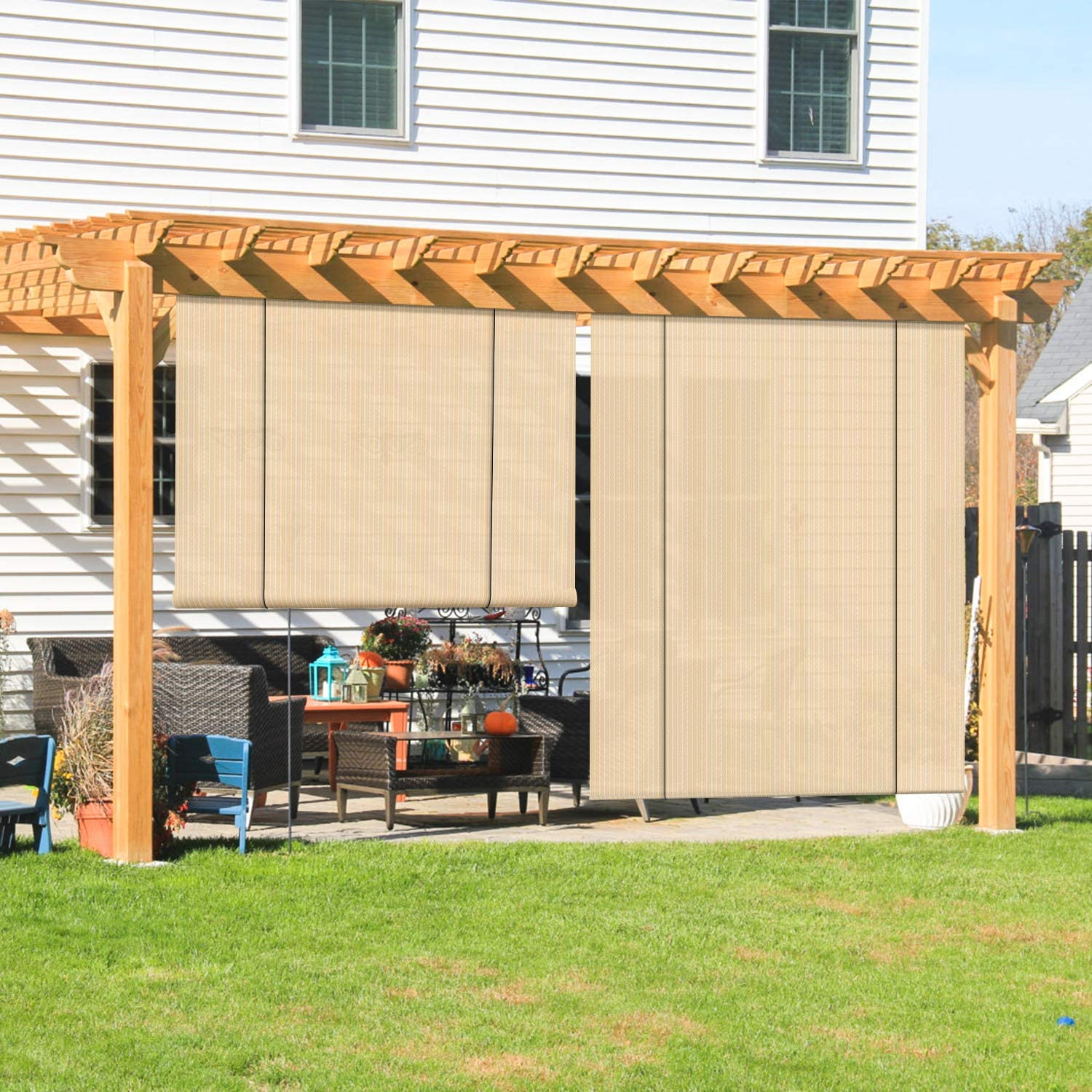 Coarbor Outdoor Roll up Shades Blinds for Porch Patio Shade Exterior Roller Shade Privacy Shade Screen for Deck Pergola Gazebo Beige 8'W x 6'H