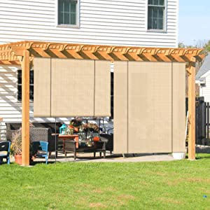 Coarbor Outdoor Roll up Shades Blinds for Porch Patio Shade Exterior Roller Shade Privacy Shade Screen for Deck Pergola Gazebo Beige 6'W x 6'H