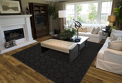 Amazon Com Garland Rug Sparta Area Rug 5 Feet By 7 Feet Black Furniture Decor