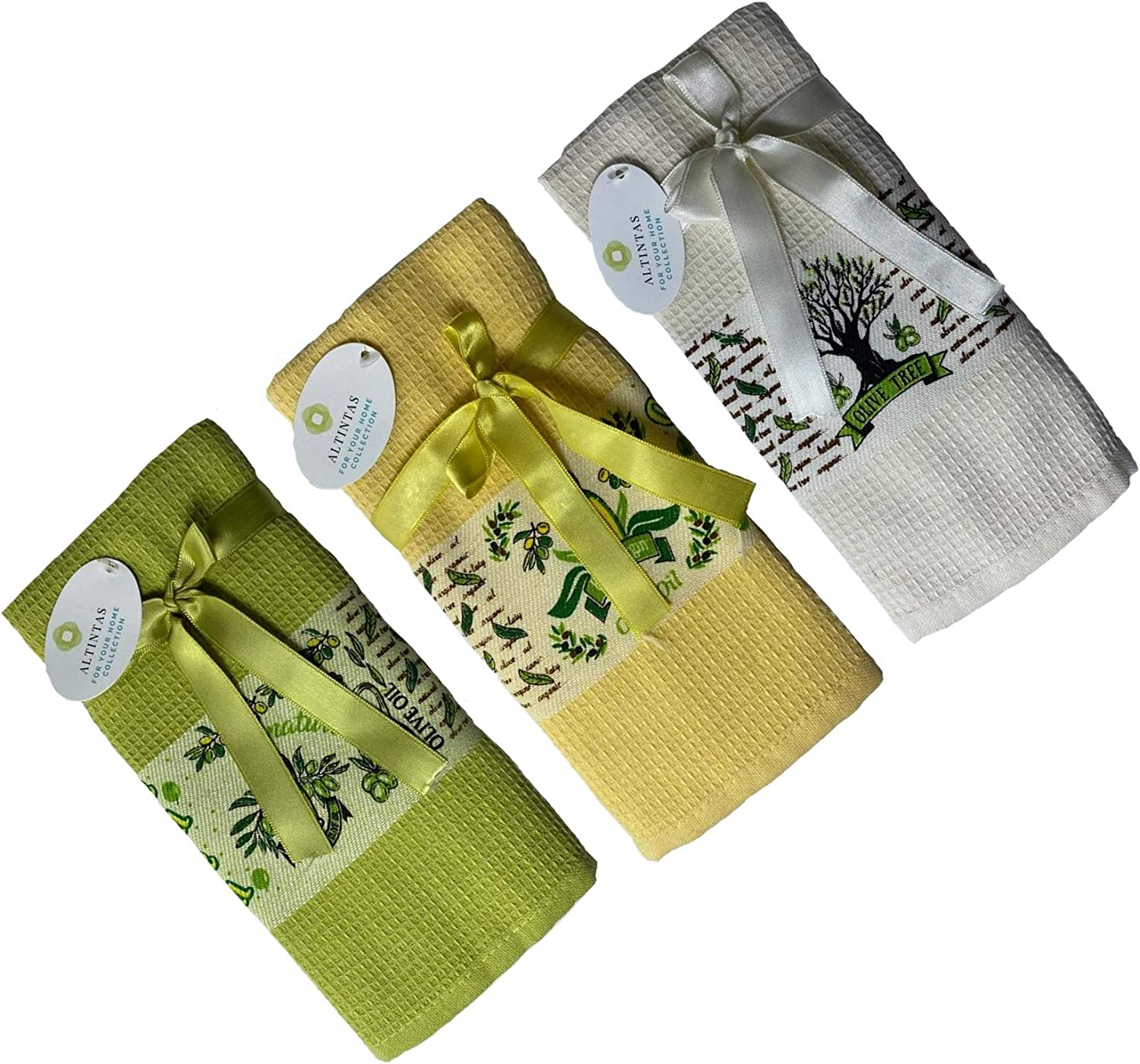 ALTINTAS Kitchen Hand Towels,17 X 26 in - Absorbent Dish Cloths for Kitchen,Drying & Cleaning,Tea & bar Towels,100% Cotton Waffle Weave,Multi-Purpose & Decorative for Home,Set of 3,Olive Oil Design