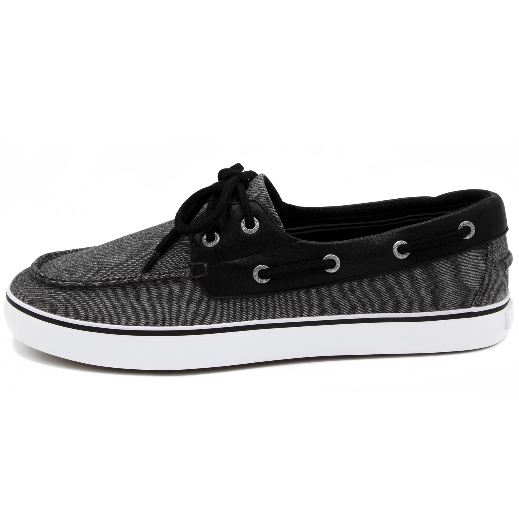 Nautica Men's Galley Lace-Up Boat Shoe,Two-Eyelet Casual Loafer, Fashion Sneaker-Black Chambray-12 by Nautica (Image #2)