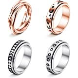 FUNRUN JEWELRY 4 Pcs Stainless Steel Spinner Ring for Women Mens Fidget Band Rings Moon Star Celtic Stress Relieving Wide Wed