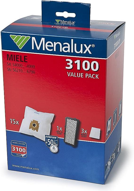 Menalux 3100VP - Juego de 15 bolsas, filtros HEPA y 3 filtros de motor para aspiradoras Miele S4/S6 15: Amazon.es: Hogar