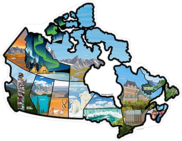 or Wall ~ Includes All Canadian Provinces and Territories with Scenic Illustrations 24 x 18.75//Large Door Travel Camper Map RV Decals for Window RV Stickers Canada See Many Places