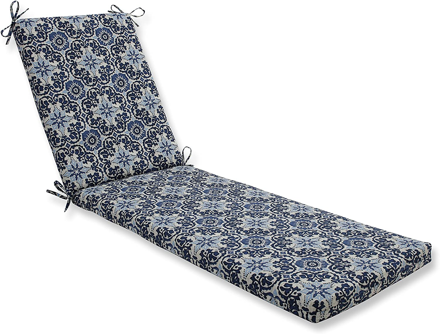 Pillow Perfect Outdoor/Indoor Woodblock Prism Blue Chaise Lounge Cushion 80x23x3