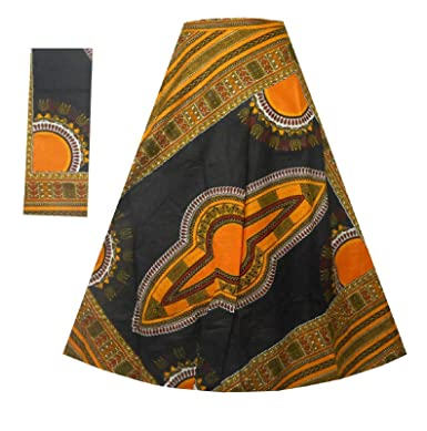 8fa888fcd80 African Dashiki Wrap Skirt Maxi Long Skirt with Belt Sash   Headpiece Free  Size (Black