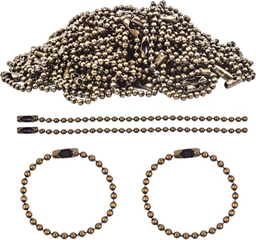 20 Silver Ball Chain with Connectors Clasp for Jewelry Making 15cm 2.4mm