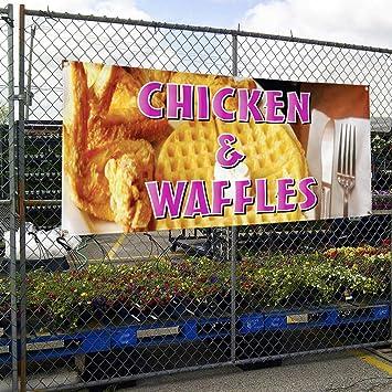 Vinyl Banner Sign Chicken /& Waffles Restaurant Cafe Bar Marketing Advertising
