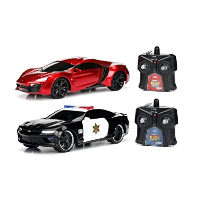 Jada Toys 2016 Chevy Camaro SS and Lykan Hypersport Hyperchargers Heat Chase RC/Radio Control Vehicle-Twin Pack with USB Charging (2 Piece), 1: 16 Scale: Toys & Games
