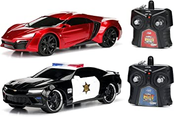 Jada Toys Hyperchargers Heat Chevy Camaro SS and Lykan Hypersport RC/Radio Control Toy Car/Vehicle-Chase Twin Pack with USB Charging and Batteries Included (2 Piece), 1:16 Scale