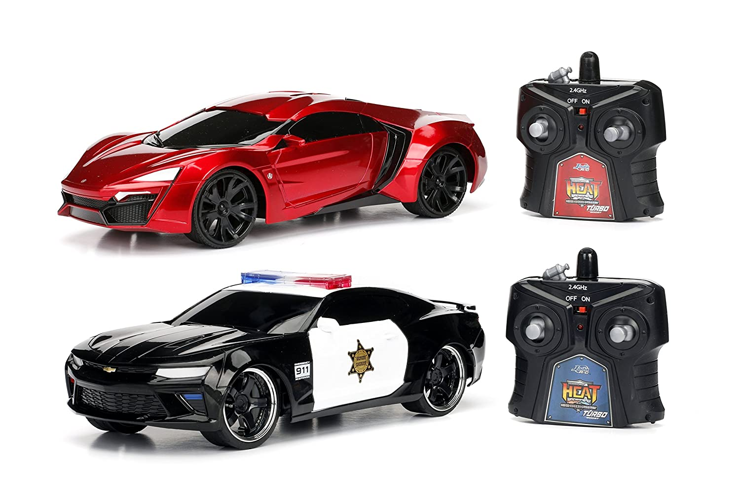 Jada Toys 2016 Chevy Camaro SS and Lykan Hypersport Hyperchargers Heat  Chase RC/Radio Control Vehicle-Twin Pack with USB Charging (2 Piece), 1: 16