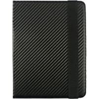 Emartbuy Smart Hard Back Flip Stand Wallet Cover for Samsung Galaxy Tab A 7 SM-T280 / SM-T285 7 Inch Tablet PC : Size (7-8 Inch) - Black Carbon