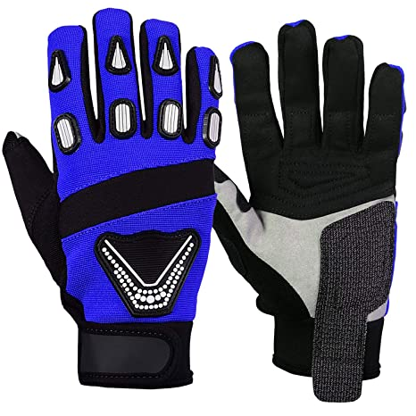 Medium, Blue Motorbike Gloves Full Finger Touchscreen Gloves Mens Motorcycle Gloves Cycling Racing Motocross Riding Gloves Outdoor Sports