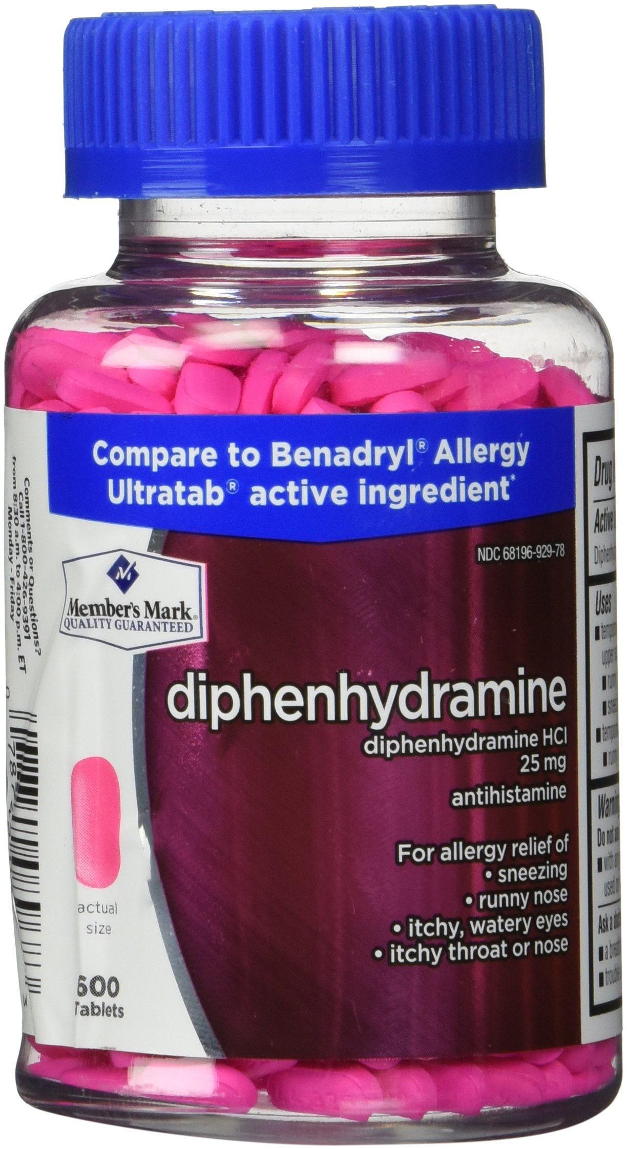 Member's Mark Diphenhydramine HCI 25mg Antihistamine, 600 tablets formerly known as Simply Right