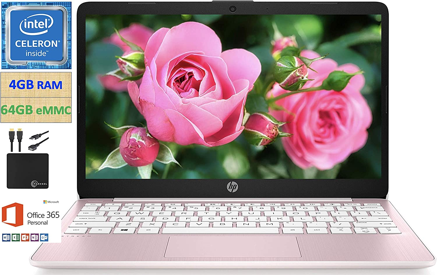 2021 Newest HP 11.6 inch Thin Light HD Laptop Computer, Intel Celeron N4020 up to 2.8 GHz, 4GB DDR4, 64GB eMMC, WiFi , Webcam, 1-Year Office 365, Up 11 Hours, Windows 10 S, Rose + Marxsol Cables