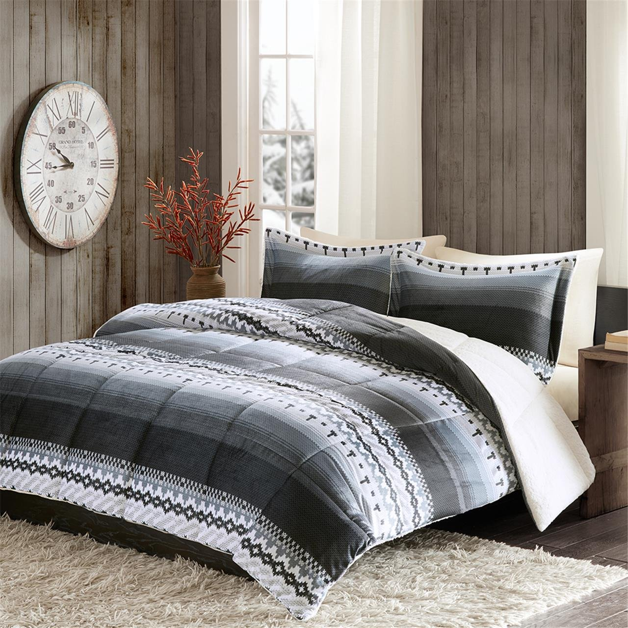 Print Mink to Berber Comforter Mini Set Charcoal King
