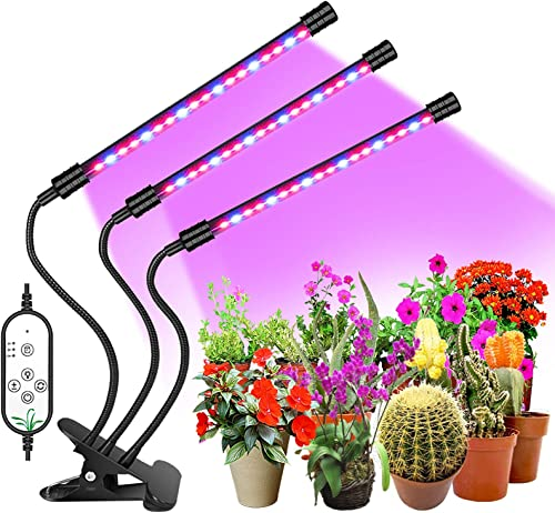 Goodland Grow Light, Auto-On Off Everyday with 4 8 12H Dual-Timer, IP66 Waterproof LED Plant Light, 5 Dimmable Levels Full Spectrum Growing Light for Indoor Plants with 2.5 inch Clip 3 Heads