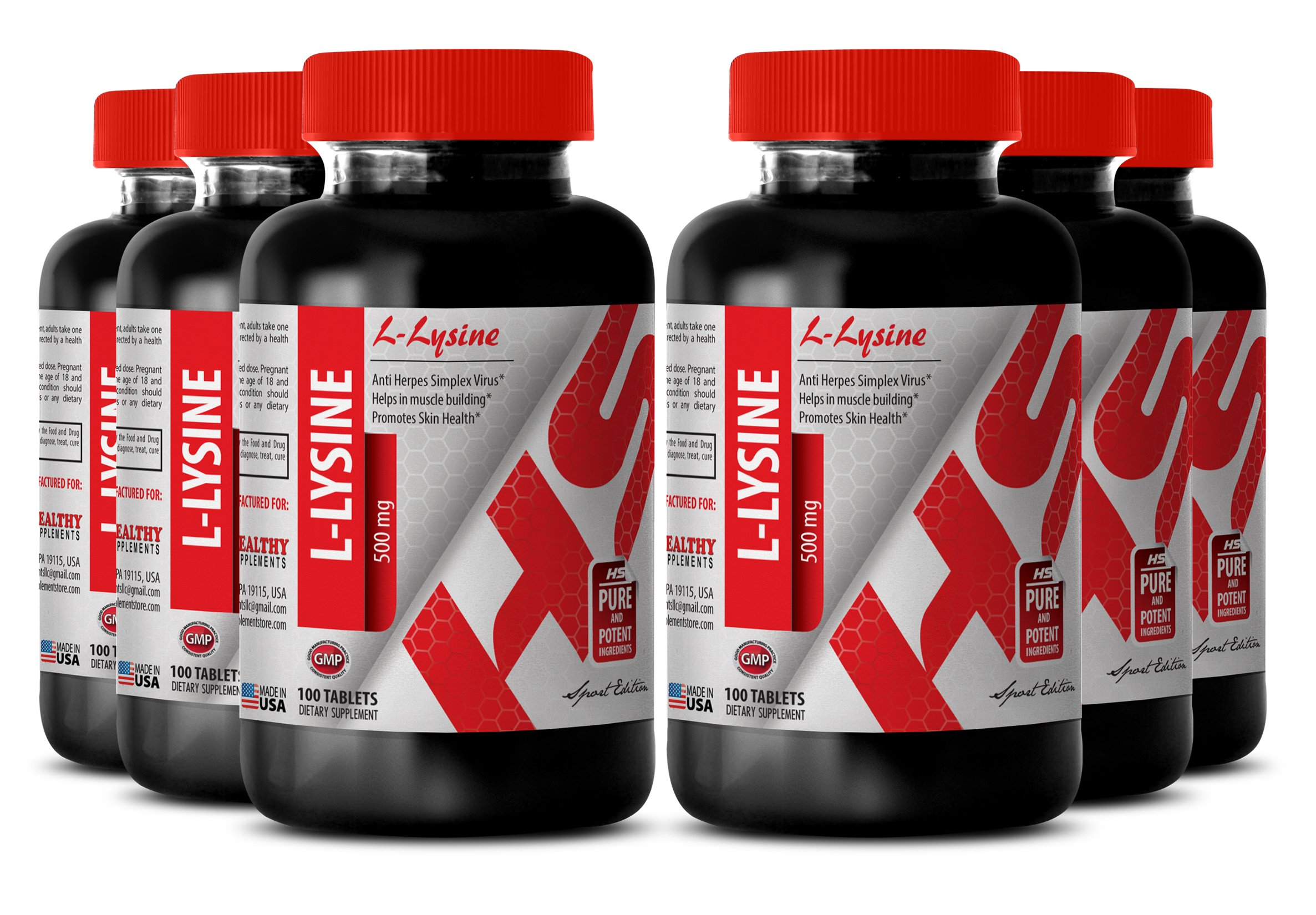 L-lysine - 500 MG L-LYSINE - lean body mass (6 Bottles)