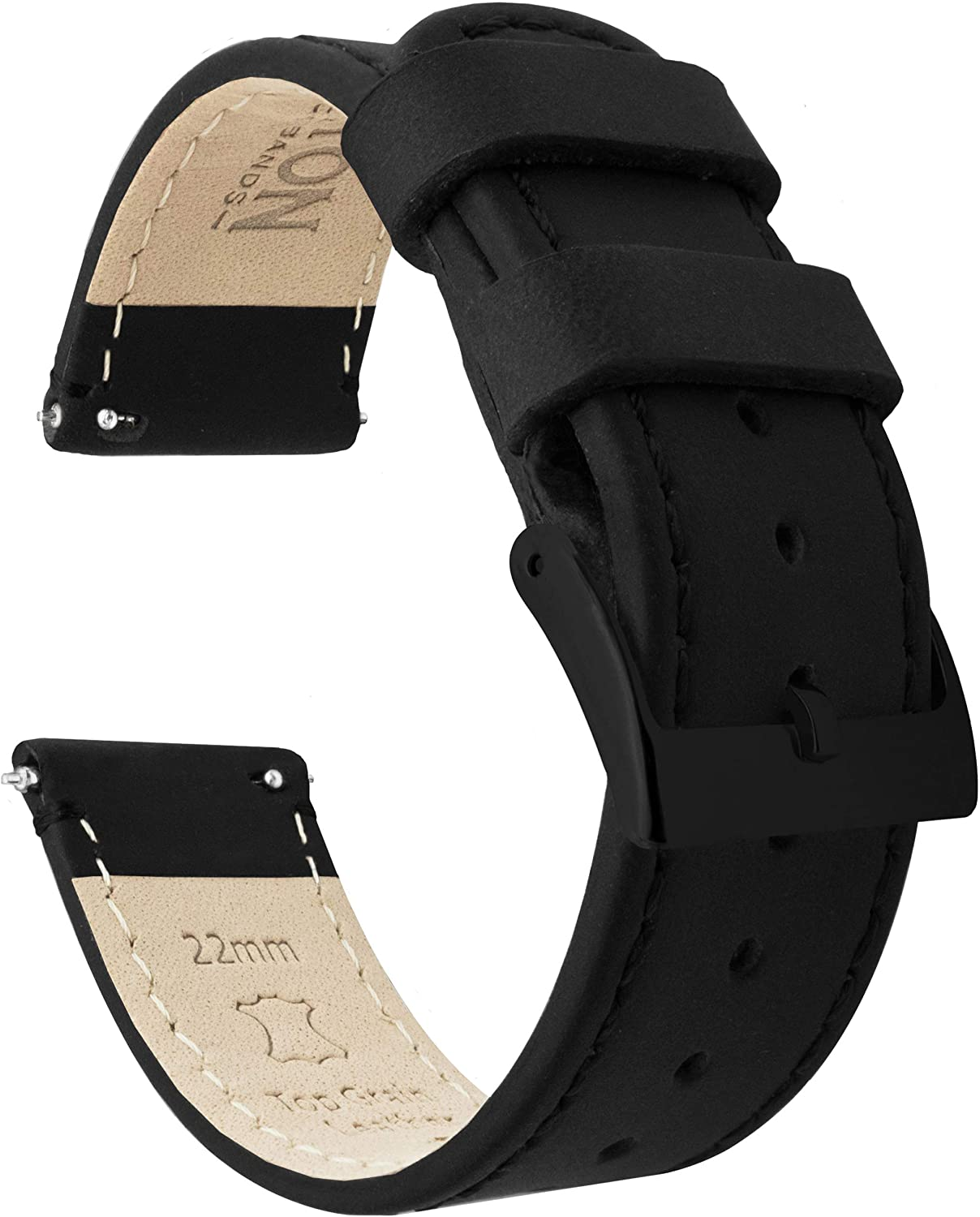 BARTON Watch Bands - Top Grain Leather Quick Release Strap - Black Buckle - Choice of Color & Width - 16mm, 18mm, 20mm, 22mm or 24mm