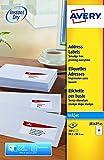 Avery 350 Etiquettes Autocollantes (14 Page par Feuille) - 99,1x38,1mm - Impression Jet d'Encre - Blanc - J8163-25