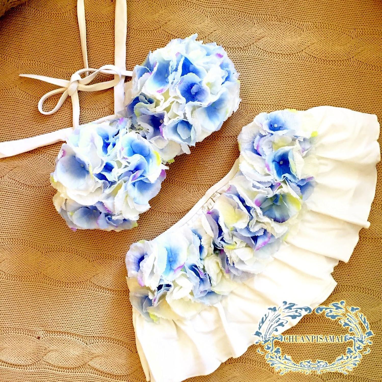 [国内正規品] (チュアンピサマイ) Chuan Pisamai [公式] 水着 レディース 可愛い 花がら ビーチ バンドゥ ビキニ セパレート ブルー&イエロー 女の子 B07DK1TRRV