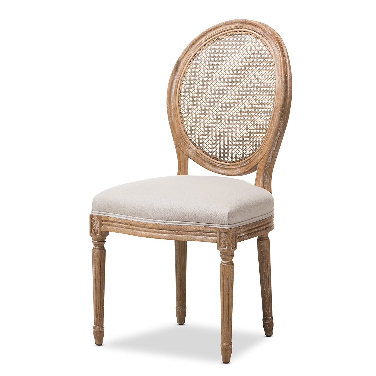 Amazon.com   Baxton Studio Darleneweathered Oak Round Cane Back Beige  Fabric Upholstered Dining Side Chair   Chairs
