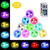 10-Pack YiaMia Waterproof Submersible LED Lights with Remote