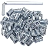 """40 Pack Threaded Insert Nutsert, 1/4""""-20 x 15mm Screw in Nut Threaded Wood Inserts, for Wood Furniture(with 1/4"""" Allen Wrench"""