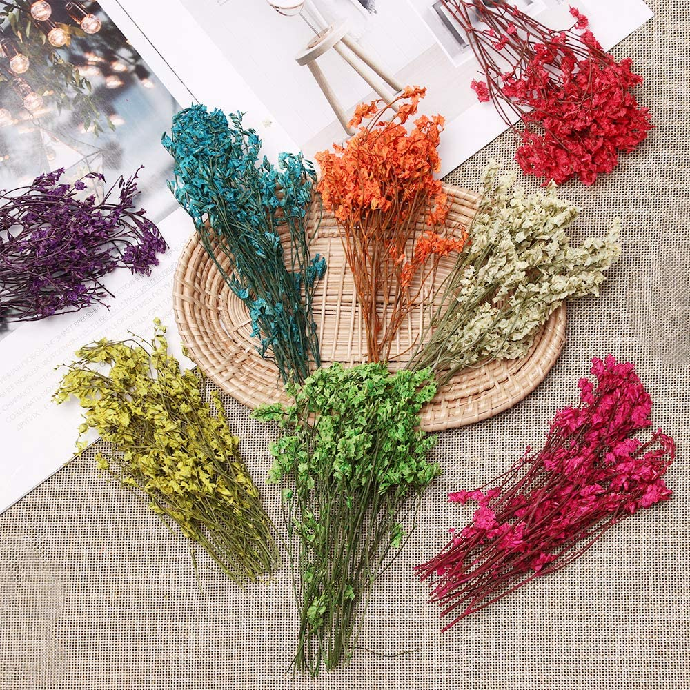 red Eadorns Dried Flowers,Crafts Gifts DIY Scrapbooking Dried Flowers Crystal Grass Floral Plants,for Party/&Home Decor