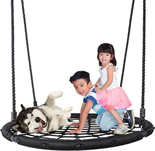 SUPER DEAL Largest 48 Web Tree Swing Set – Extra Large Platform – 360 Rotate – Adjustable Hanging Ropes – Attaches to Trees or Existing Swing Sets – for Multiple Kids or Adult