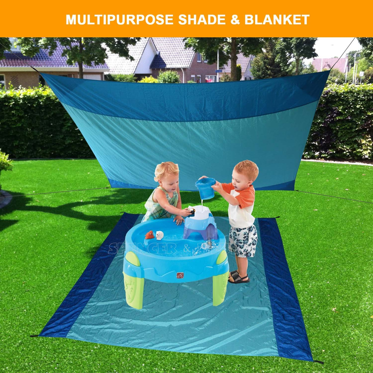 [Pack of 5] Sand Proof Beach Picnic Blanket of Parachute Nylon, works as Shade Tarp Sheet for your Sandless travel escape perfect for drying towel not a black microfiber waterproof or resistant mat by Spencer&Webb (Image #3)
