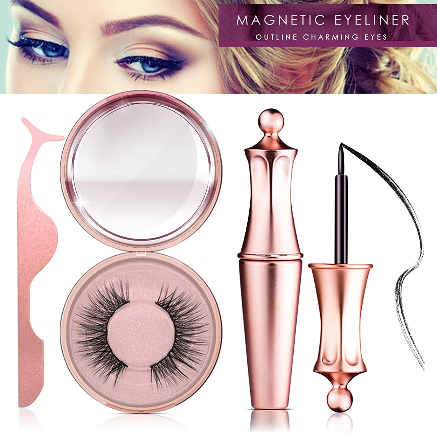84aa1e3ccab Amazon.com : Magnetic Eyeliner Kit, Magnetic Eyeliner With Magnetic  Eyelashes, Magnetic Lashliner For Use with Magnetic False Lashes (PI) :  Beauty