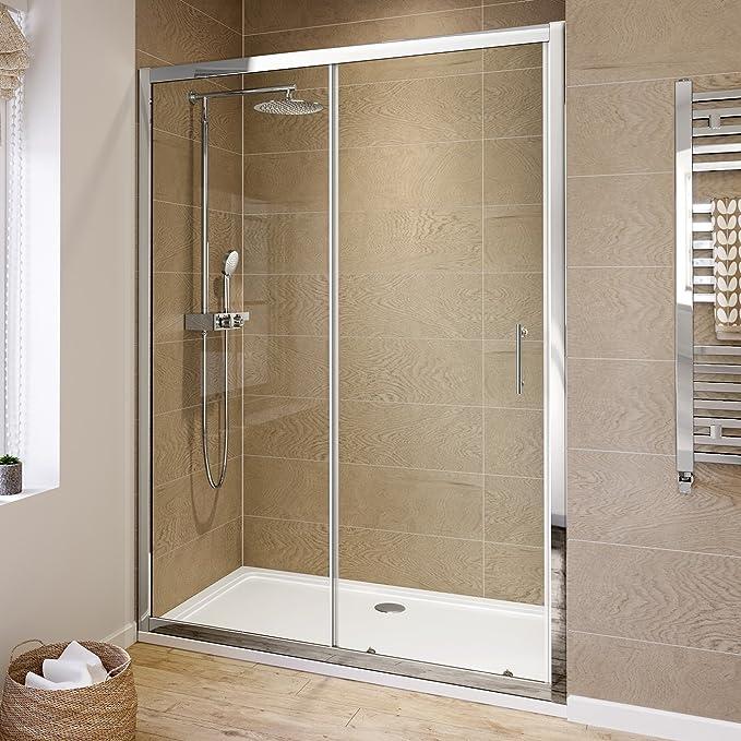 iBathUK 1200mm Modern Sliding 6mm Glass Shower Enclosure Reversible ...