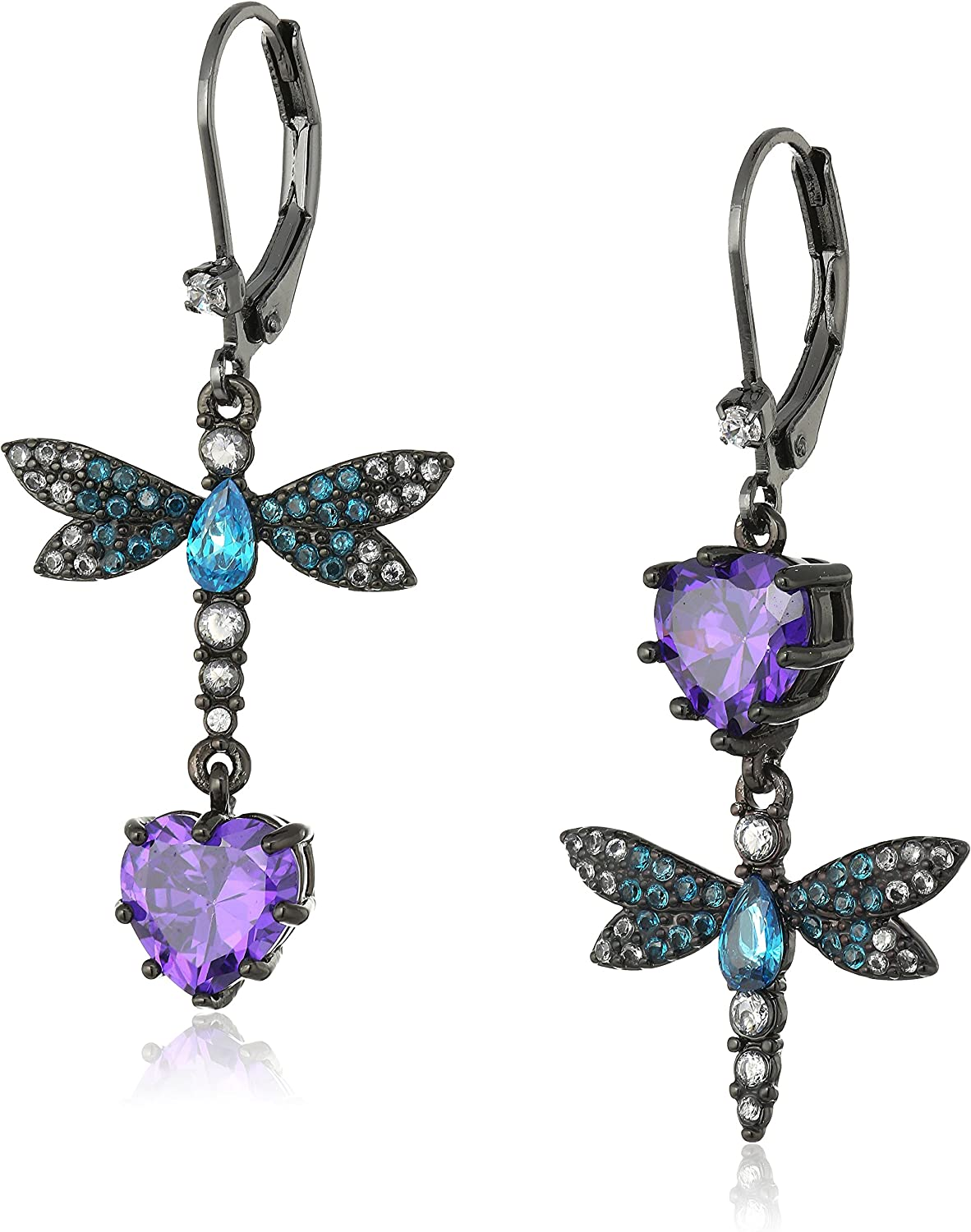 "Betsey Johnson ""Cubic Zirconia Critter"" Cubic Zirconia and Butterfly Double Mismatch Drop Earring"