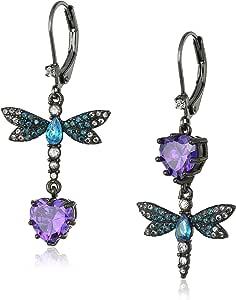 Betsey Johnson CZ & Butterfly Double Mismatch Drop Earring