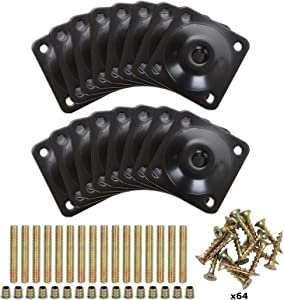 16 Pcs Flat Leg Mounting Plates, Furniture Sofa Leg Attachment Plates Sets with Hanger Bolts Screws for Repair or Strengthen Damaged Furniture Sofa Couch Seat