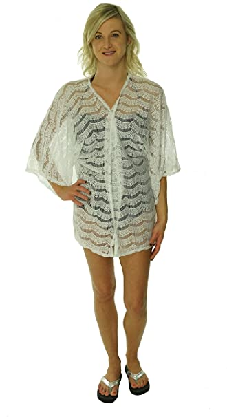 edfee2599d Kenneth Cole Reaction White Lace Swim Cover Up Small Medium at Amazon  Women s Clothing store