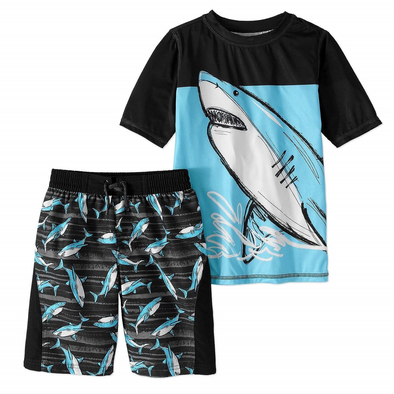 wonder nation Boys Green Chill Mode Rash Guard and Green Shark Swim Trunk 2 Piece Set (Large)