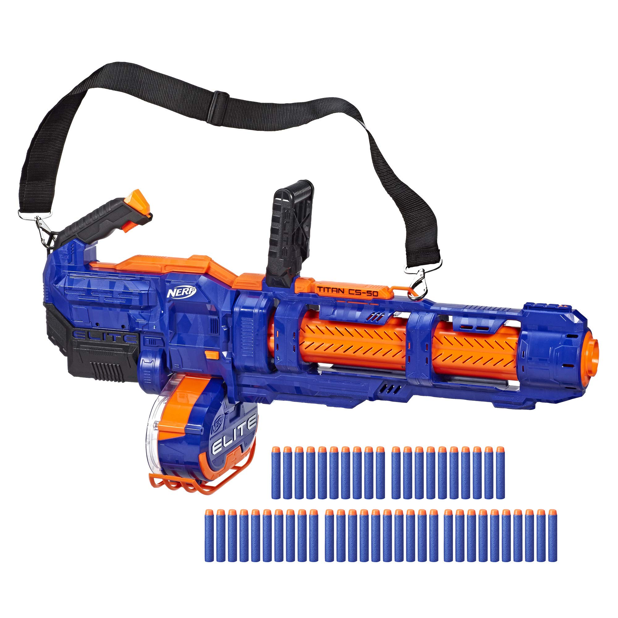 NERF Elite Titan CS-50 Toy Blaster -- Fully Motorized, 50-Dart Drum, 50 Official Elite Darts, Spinning Barrel -- for Kids, Teens, Adults by NERF